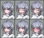 1girl :d :o ;q blush burn_scar chart closed_eyes dorei_to_no_seikatsu_~teaching_feeling~ expressions eyebrows_visible_through_hair face grey_background grey_hair hair_ornament hair_ribbon hairclip hat heart heart-shaped_pupils long_hair looking_at_viewer multiple_views nose_blush nurse nurse_cap official_art older one_eye_closed open_mouth ponytail ray-k ribbon scar simple_background smile sweatdrop sylvie_(dorei_to_no_seikatsu) symbol-shaped_pupils tongue tongue_out violet_eyes white_ribbon