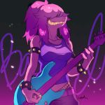 1girl acoustic_guitar bracelet deltarune electric_guitar guitar hair_over_eyes highres instrument jewelry long_hair noaharbre sharp_teeth smile solo spiked_bracelet spikes standing susie_(deltarune) teeth