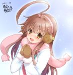 0yukiya0 1girl ahoge alternate_costume artist_logo bear_head blue_background blue_jacket brown_eyes brown_hair commentary_request earmuffs fur-trimmed_jacket fur_trim highres huge_ahoge jacket kantai_collection kuma_(kantai_collection) long_hair looking_at_viewer mittens open_mouth pink_scarf scarf smile solo upper_body winter_clothes