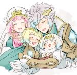 1boy blonde_hair blue_hair breasts brother_and_sister dress earrings feather_trim fire_emblem fire_emblem_heroes fjorm_(fire_emblem_heroes) fur_trim gradient gradient_hair gunnthra_(fire_emblem) hrid_(fire_emblem_heroes) hug jewelry long_hair long_sleeves multicolored_hair nintendo nonomori_(anst_nono) open_mouth pink_hair short_hair siblings simple_background sisters smile thigh-highs tiara veil violet_eyes white_hair ylgr_(fire_emblem_heroes)