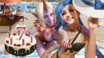 ;) arm_tattoo bangs bikini birthday_cake blonde_hair blue_hair braid breasts cake character_request cleavage downblouse food grin group_picture highres horn jinx_(league_of_legends) large_breasts league_of_legends lejia_chan lips looking_at_viewer medium_breasts multiple_girls nose one-piece_swimsuit one_eye_closed parted_bangs pink_eyes pool poolside purple_skin small_breasts smile soraka swimsuit tattoo thigh_gap twin_braids wallpaper yellow_eyes