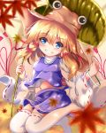 1girl autumn_leaves bangle blonde_hair blue_eyes blue_skirt blue_vest blurry blush bracelet breasts commentary_request curled_fingers depth_of_field eyebrows_visible_through_hair folded_leg grin hair_between_eyes hair_ribbon hat head_tilt holding jewelry jumping leaf leaf_umbrella long_sleeves maple_leaf medium_hair midriff moriya_suwako navel no_shoes orange_sky outdoors over-kneehighs ribbon ribbon-trimmed_legwear ribbon_trim shirt sidelocks skirt sky small_breasts smile solo teeth thigh-highs touhou twilight unory vest white_legwear white_shirt wide_sleeves
