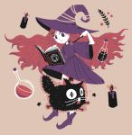 1girl beige_background black_cat book candle cat closed_mouth commentary dress english_commentary hat hexagram holding holding_wand light_frown long_hair mona_(h-rabbit) monochrome muted_color open_book original pointy_shoes purple_dress purple_footwear purple_hat shoes simple_background skirt solo star_of_david static_electricity test_tube very_long_hair violet_eyes wand white_skirt
