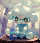 +_+ berry blush commentary_request creatures_(company) drooling forest game_freak gen_3_pokemon highres manino_(mofuritaionaka) meditite nature nintendo no_humans oran_berry outdoors pokemon pokemon_(creature) signature sitting solo tree tree_stump