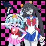 2girls bandage bishoujo_senshi_sailor_moon black_hair blue_hair blue_skin bow bowtie cape cat choker collar fangs food fruit gloves hair_between_eyes hair_ornament hoshikawa_lily leotard long_hair looking_at_viewer luna_(sailor_moon) mitsuishi_kotono multiple_girls one_eye_closed onion open_mouth orange pirochi red_eyes ribbon romero_(zombie_land_saga) sailor_chibi_moon sailor_collar sailor_moon seiyuu_connection skirt spiked_collar spikes star star_hair_ornament tatsumi_koutarou tuxedo tuxedo_kamen twintails v yamada_tae zombie zombie_land_saga