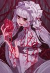 1girl absurdres blood blood_on_face bloody_clothes bloody_dress bloody_hands bow commentary doku-chan_(dokkudokudoku) dress english_commentary gothic_lolita hairband hands_up highres holding_heart lips lolita_fashion long_hair long_sleeves looking_at_viewer original parted_lips solo very_long_hair white_bow white_dress white_hair white_hairband white_headdress yandere