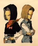 1boy 1girl android_17 android_18 back-to-back belt black_hair black_shirt blonde_hair brother_and_sister crossed_arms denim denim_skirt dragon_ball dragonball_z eyelashes fanny_pack fingernails frown hand_on_hip highres horizontal_stripes jeans lee_(dragon_garou) light_smile long_sleeves neckerchief orange_neckwear pants red_ribbon_army shaded_face shirt short_hair siblings simple_background skirt standing striped twins upper_body waiscoat white_background