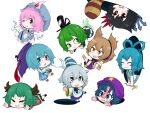 6+girls :3 :o animal_ears anklet asymmetrical_wings bangle black_hair black_hat blue_dress blue_eyes blue_hair blue_hat blue_kimono blue_skirt blush_stickers bracelet brown_dress brown_hair chibi closed_eyes closed_mouth commentary_request dress earmuffs fan folding_fan futatsuiwa_mamizou geta ghost_tail green_dress green_eyes green_hair grey_eyes grey_hair hair_rings hat heterochromia hitodama holding holding_umbrella hole houjuu_nue jakomurashi japanese_clothes jewelry kaku_seiga kariginu kasodani_kyouko kimono long_sleeves lying miyako_yoshika mob_cap mononobe_no_futo multiple_girls ofuda on_stomach one_eye_closed pink_eyes pink_hair pointy_hair purple_hat purple_skirt raccoon_tail red_eyes red_shirt saigyouji_yuyuko shirt simple_background skirt sleeves_past_fingers sleeves_past_wrists smile soga_no_tojiko star tail tatara_kogasa tate_eboshi ten_desires touhou toyosatomimi_no_miko triangular_headpiece umbrella white_background wide_sleeves wings yellow_eyes