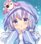 1girl animal_ears animal_hood bangs black_hairband blue_eyes blue_hair blue_jacket blush bunny_hood chestnut_mouth commentary_request eyebrows_visible_through_hair frilled_hairband frills gochuumon_wa_usagi_desu_ka? hair_between_eyes hair_bobbles hair_ornament hairband hands_up head_tilt hood hood_up hooded_jacket jacket kafuu_chino long_hair long_sleeves low_twintails on_head parted_lips rabbit_ears rikatan sleeves_past_wrists solo star stuffed_animal stuffed_bunny stuffed_toy twintails upper_body