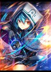 1girl blue_hair blurry blurry_background capelet claws closed_mouth cowboy_shot cube dated eyebrows_visible_through_hair gia highres hood hood_up hooded_capelet leotard looking_at_viewer mechanical_arms orange_eyes original short_hair signature solo