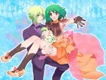 1boy 1girl ahoge ai-kun alternate_costume black_gloves bow bowtie brera_sterne brother_and_sister carrying cero_(cerocero) cleavage_cutout dress flower formal gloves green_hair high_heels highres looking_at_viewer macross macross_frontier nail_polish official_style open_mouth orange_dress outstretched_arm princess_carry ranka_lee red_eyes see-through short_hair siblings smile sparkle tuxedo