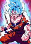 1boy blue_eyes blue_hair charging chipa_(arutana) collarbone dragon_ball dragonball_z muscle open_mouth saiyan solo son_gokuu spiky_hair super_saiyan_blue