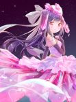 1girl bad_id bangs black_gloves black_hair blush bow closed_mouth commentary_request creatures_(company) crystal dated diancie dress elbow_gloves eyebrows_visible_through_hair game_freak gen_6_pokemon gloves hair_bow highres humanization long_hair looking_at_viewer looking_to_the_side night night_sky nintendo peas_(peas0125) pink_dress pokemon pokemon_(game) red_eyes signature sky smile solo star_(sky) starry_sky strapless strapless_dress very_long_hair white_bow