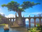 animal arch artist_name bird blue_sky bridge building cart castle clouds cloudy_sky commentary_request day fantasy flock giant_tree highres horse k-takano lake medieval mountain original outdoors path reflection road sail scenery ship signature sky statue tree water watercraft