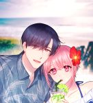 1boy 1girl :d blurry blurry_background day drinking_straw flower hair_flower hair_ornament hetero holding_drink hsmoji lime_slice open_mouth original outdoors pink_eyes red_flower short_hair smile upper_body wheat_print