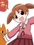 <o>_<o> 1girl arm_up azumanga_daioh blush_stickers brown_hair chiyo_chichi commentary_request hammer_(sunset_beach) long_hair mihama_chiyo open_mouth outstretched_arms school_uniform skirt sleeves_past_wrists smile translated twintails