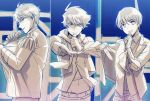 3boys beckoning fuyumi_jun idolmaster idolmaster_side-m jacket male_focus microphone moon_night_no_sei_ni_shite multiple_boys necktie outstretched_arm scarf shiomizu_(shouroku) short_hair smile split_screen taiga_takeru takajou_kyouji