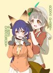 2girls animal_ears bag bangs blue_hair blush bow bowtie commentary_request cosplay embarrassed ezo_red_fox_(kemono_friends) ezo_red_fox_(kemono_friends)_(cosplay) fox_ears grey_hair hair_between_eyes hat_feather helmet kaban_(kemono_friends) kaban_(kemono_friends)_(cosplay) kemono_friends kurone_(kuronegokou) long_hair long_sleeves love_live! love_live!_school_idol_project mimori_suzuko minami_kotori multiple_girls one_side_up open_mouth pith_helmet seiyuu_connection simple_background sonoda_umi uchida_aya yellow_eyes