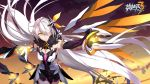 1girl ahoge armor armored_dress armpits bangs bare_shoulders breasts charging cici cleavage clouds cowboy_shot dark_persona diamond-shaped_pupils dress elbow_gloves energy_wings expressionless eyebrows_visible_through_hair floating floating_hair floating_weapon fur-trimmed_dress glint gloves gold gold_trim gun hair_between_eyes hair_ornament hair_over_one_eye herrscher_of_the_void highres holding holding_gun holding_weapon honkai_impact jewelry kiana_kaslana large_breasts light_particles logo long_hair medium_breasts official_art outdoors outstretched_arm polearm sidelocks silver_hair single_elbow_glove solo spear sunset symbol-shaped_pupils very_long_hair void_key weapon wind yellow_eyes