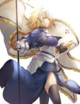 1girl armor armored_dress banner black_bow black_legwear blonde_hair blue_dress blue_eyes bow braid braided_ponytail breasts dress fate/apocrypha fate_(series) faulds floating_hair gauntlets hair_bow headpiece holding jeanne_d'arc_(fate) jeanne_d'arc_(fate)_(all) large_breasts long_dress long_hair saihate_(d3) simple_background single_braid solo standing thigh-highs very_long_hair white_background