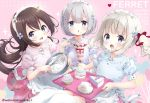 3girls :d animal_ears apron bangs blue_bow blue_shirt blush bow bowl brown_hair cake collared_shirt commentary_request cream cupcake eyebrows_visible_through_hair fang ferret_ears ferret_tail food food_on_face grey_eyes grey_hair hair_between_eyes hair_bow heart holding holding_bowl holding_spoon holding_tray light_brown_hair long_hair looking_at_viewer maid_headdress multiple_girls neki_(wakiko) open_mouth original parfait parted_lips pink_shirt puffy_short_sleeves puffy_sleeves purple_bow purple_shirt red_bow red_skirt shirt short_hair short_sleeves skirt slice_of_cake smile sparkle spoon thigh-highs tray twintails twitter_username very_long_hair waist_apron whisk white_apron white_legwear