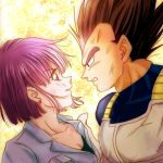 1boy 1girl armor black_eyes black_hair bulma close-up dirty dirty_face dragon_ball dragonball_z earrings expressionless eye_contact eyebrows_visible_through_hair face floating_hair frown gradient gradient_background jewelry looking_at_another profile purple_hair sepia_background short_hair simple_background spiky_hair upper_body vegeta violet_eyes white_background yellow_background
