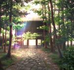 architecture artist_name building commentary_request day east_asian_architecture forest grass highres inika light_rays nature no_humans original outdoors pavement plant rock scenery shrine signature sunbeam sunlight tree