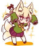 +++ +_+ 1girl afterimage animal_ear_fluff animal_ears arms_up bangs bell bell_collar blonde_hair blush brown_collar collar eyebrows_visible_through_hair fox_ears fox_girl fox_tail full_body green_shirt hair_between_eyes hair_bun hair_ornament jingle_bell kemomimi-chan_(naga_u) long_sleeves naga_u orange_neckwear original parted_lips pleated_skirt purple_skirt red_eyes red_footwear ribbon-trimmed_legwear ribbon_trim shadow shirt sidelocks skirt sleeves_past_fingers sleeves_past_wrists solo sparkle standing tail tail_wagging thigh-highs white_background white_legwear
