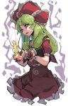 1girl doll dress frilled_dress frilled_ribbon frilled_wrist_cuffs frills front_ponytail graphite_(medium) green_eyes green_hair hair_ribbon highres holding kagiyama_hina long_hair lyu open_mouth red_dress red_ribbon ribbon short_sleeves simple_background solo spiral touhou traditional_media white_background