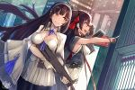 2girls assault_rifle bangs black_hair black_legwear blush breasts brown_eyes bullpup cape cityscape cleavage closed_mouth corset double-breasted eyebrows_visible_through_hair flower girls_frontline gloves gun hair_between_eyes hair_flower hair_ornament hair_ribbon hairband highres holding holding_gun holding_weapon large_breasts long_hair looking_away mappaninatta multiple_girls necktie outdoors pantyhose pleated_skirt pointing qbz-95 qbz-95_(girls_frontline) qbz-97 qbz-97_(girls_frontline) ribbon rifle shirt sidelocks signature skirt sleeveless sleeveless_shirt smile thigh-highs trigger_discipline twintails twitter_username underbust very_long_hair weapon white_gloves white_hairband white_legwear white_shirt white_skirt yellow_eyes