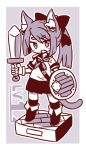 1girl :d animal_ear_fluff animal_ears bangs blush_stickers boots bow cat_ears cat_girl cat_tail eyebrows_visible_through_hair fang gloves greyscale hair_between_eyes hair_bow holding holding_shield holding_sword holding_weapon long_hair looking_at_viewer monochrome naga_u neckerchief open_mouth original pleated_skirt ponytail sailor_collar school_uniform serafuku shield shirt short_eyebrows short_sleeves skirt smile solo standing sword tail thick_eyebrows thigh-highs thighhighs_under_boots weapon