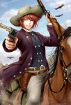 1boy absurdres bedroll belt bird black_neckwear blue_vest brown_eyes brown_hair cowboy_hat day dual_wielding glint gun handgun hat highres holding horseback_riding jacket koizumi_(sucseed) male_focus official_art outdoors parted_lips pistol pointing reins riding rifle saddle sheriff_badge smile vest weapon
