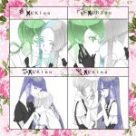 5others androgynous bangs blue_eyes blue_hair blunt_bangs cairngorm_(houseki_no_kuni) cheek_kiss closed_eyes colored_eyelashes crystal_hair easty euclase_(houseki_no_kuni) eyebrows_visible_through_hair eyes_visible_through_hair gem_uniform_(houseki_no_kuni) ghost_quartz_(houseki_no_kuni) gloves green_eyes green_hair grey_eyes grey_eyes grey_hair hair_kiss hand_kiss heterochromia houseki_no_kuni jade_(houseki_no_kuni) kiss kiss_chart lapis_lazuli_(houseki_no_kuni) long_hair multicolored_hair multiple_others necktie short_hair short_hair_with_long_locks silver_hair smile suspenders thick_eyebrows two-tone_hair white_hair white_skin