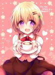 1girl :d bangs blush brown_hair brown_skirt coffee commentary_request copyright_name cup eyebrows_visible_through_hair gochuumon_wa_usagi_desu_ka? hair_between_eyes hair_ornament hairclip haru_ichigo heart highres holding_saucer hoto_cocoa looking_at_viewer open_mouth pink_background pink_vest rabbit_house_uniform round_teeth saucer shirt skirt smile solo teacup teeth uniform upper_teeth vest violet_eyes waitress white_shirt