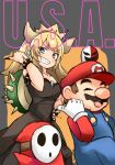 1boy 1girl :d barashiya bare_shoulders black_dress black_nails blonde_hair blue_earrings blue_eyes bowsette bracelet brooch cabbie_hat closed_eyes commentary crown dress eyebrows_visible_through_hair gloves grin hand_on_hip hat highres jewelry mario mario_(series) nail_polish new_super_mario_bros._u_deluxe nintendo open_mouth overalls pointing pointy_ears red_hat red_shirt sharp_teeth shirt shy_guy sketch smile spiked_armlet spiked_bracelet spiked_shell spikes strapless strapless_dress super_crown teeth turtle_shell u.s.a. v-shaped_eyebrows white_gloves