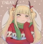1girl alternate_hairstyle artist_name bell blonde_hair blush boku_no_hero_academia bored commentary english_commentary enlay fake_antlers frown hair_bell hair_ornament hand_on_own_cheek highres jingle_bell long_hair looking_at_viewer scarf solo sweater toga_himiko twintails yellow_eyes