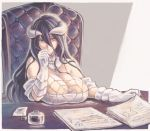 1girl albedo bare_shoulders black_hair breast_rest breasts calligraphy_brush chair cleavage closed_mouth demon_girl demon_horns desk detached_collar dress gloves hair_between_eyes holding holding_paper holding_pen horns ink_bottle jewelry large_breasts long_hair necklace overlord_(maruyama) paintbrush paper paper_stack papers pen slit_pupils user_xgpy8228 white_dress white_gloves yellow_eyes