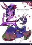 1girl absurdres bangs collarbone cropped earrings fate/grand_order fate_(series) glasses hair_ornament highres honjou_raita horns huge_filesize japanese_clothes jewelry looking_at_viewer open_mouth purple_hair scan short_hair shuten_douji_(fate/grand_order) smile thighs tongue tongue_out violet_eyes white_background