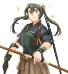 1girl bow_(weapon) brown_eyes brown_hakama camouflage closed_mouth commentary flight_deck gloves green_hair grey_hair grey_kimono hair_between_eyes hair_ribbon hakama hakama_skirt hip_vent holding holding_bow_(weapon) holding_weapon japanese_clothes kantai_collection kimono long_hair looking_at_viewer machinery muneate partly_fingerless_gloves remodel_(kantai_collection) ribbon rigging simple_background smile solo sparkle twintails weapon weidashming white_background white_ribbon yugake zuikaku_(kantai_collection)