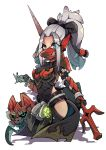 absurdres armor blue_eyes breastplate chibi covered_mouth gloves grey_hair highres hip_vent lyu monster_hunter monster_hunter:_world odogaron_(armor) polearm ponytail weapon white_background
