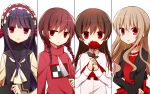 4girls alice_mare black_hair blonde_hair braid breasts brown_hair choker commentary_request covering_mouth cropped_jacket flower higyaku_no_noel ib ib_(ib) kitchen_knife knife long_hair looking_at_viewer madotsuki maid_headdress multiple_girls noel_cerquetti open_mouth pink_shirt red_eyes red_flower red_rose redhead rose shirt small_breasts stella_northrop sweater tokiha_(haruka951116) twin_braids twintails upper_body white_background yume_nikki