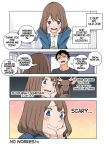 1boy 1girl 4koma black_hair blue_eyes bob_cut brown_hair comic deer facial_hair formal hard_translated nishino_kanako office_lady original stubble suit wakabayashi_toshiya