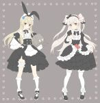 absurdres alternate_costume amatsukaze_(kantai_collection) blonde_hair gothic_lolita grey_eyes hair_tubes highres kantai_collection lifebuoy lolita_fashion long_hair rensouhou-chan ribbon shimakaze_(kantai_collection) shiosoda silver_hair thigh-highs two_side_up