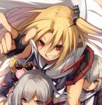 4girls azur_lane black_gloves blonde_hair blue_eyes blue_jacket blush bubble_blowing cleveland_(azur_lane) columbia_(azur_lane) commentary_request fingerless_gloves fu-ta gloves grin hair_between_eyes hair_ornament hairclip jacket kibasen looking_at_viewer montpelier_(azur_lane) multiple_girls one_side_up orange_eyes parted_lips pleated_skirt pointing red_eyes red_skirt skirt smile sparkle sunglasses white_background