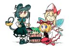 5girls :< animal_ears black_dress blonde_hair blue_eyes blue_footwear bow character_request closed_eyes closed_mouth dress facing_viewer fairy_wings green_eyes green_hair hair_ribbon hand_on_hip hat hat_bow holding kneeling long_hair long_sleeves minigirl mouse mouse_ears mouse_tail multiple_girls nazrin pink_bow pink_hair prehensile_tail red_eyes red_footwear red_ribbon red_skirt ribbon setz shoes skirt smile socks standing tail touhou white_legwear wings