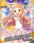 bare_shoulders blush brown_eyes character_name dress gloves ichihara_nina idolmaster idolmaster_cinderella_girls long_hair microhphone orange_hair singing stars