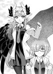 2girls :t absurdres black_dress black_legwear blush breasts circe_(fate/grand_order) closed_mouth cosplay dress fate/grand_order fate_(series) feathered_wings glasses greyscale head_wings highres ichihara_kazuma jacket jewelry long_hair looking_at_viewer mash_kyrielight mash_kyrielight_(cosplay) monochrome multiple_girls necktie open_mouth pantyhose pointy_ears pout short_hair smile wings