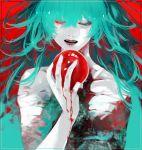 apple bandage biting blood eto food fruit green_eyes green_hair heterochromia highres koujima_shikasa lips red_eyes tokyo_ghoul