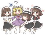 4girls anger_vein black_hat black_skirt blonde_hair blouse blush brown_eyes brown_hair clone dress fedora hair_ribbon hat hat_ribbon highres maribel_hearn medium_hair multiple_girls purple_dress red_ribbon ribbon salt_(seasoning) skirt socks touhou usami_renko white_blouse white_hat white_ribbon yellow_eyes