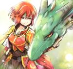 1girl armor dragon fire_emblem fire_emblem:_monshou_no_nazo gloves headband minerva_(fire_emblem) nintendo red_armor red_eyes redhead short_hair smile solo yoshikodx731